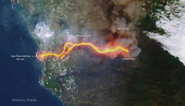 Der Lavastrom fließt, mal langsamer, mal schneller, in Richtung Meer.